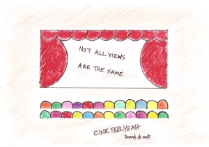 Yes, I really did hand-draw this whimsical movie theater (that's what it's supposed to be, anyway). The drawing is not, contrary to popular belief, the artwork of a 5th grader.