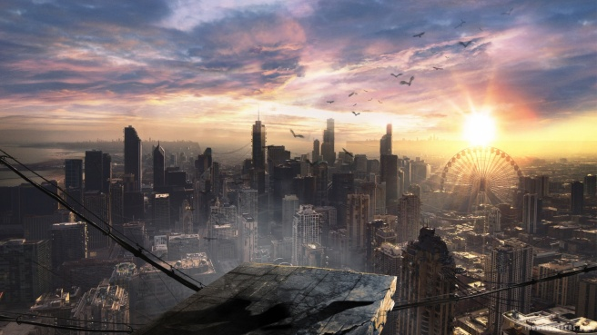 View of Divergent's derelict Chicago cityscape. Image courtesy of Summit Entertainment.