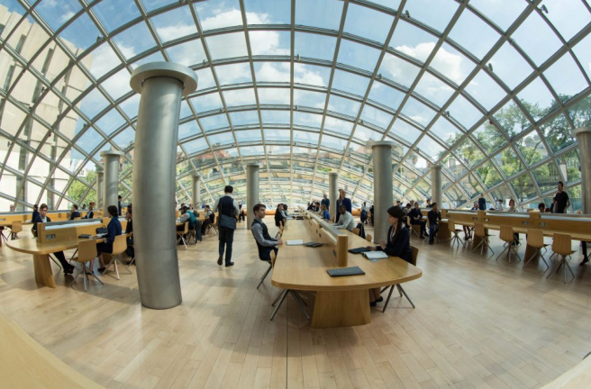 Fish eye view from inside Erudite Headquarters. Image courtesy of Summit Entertainment.