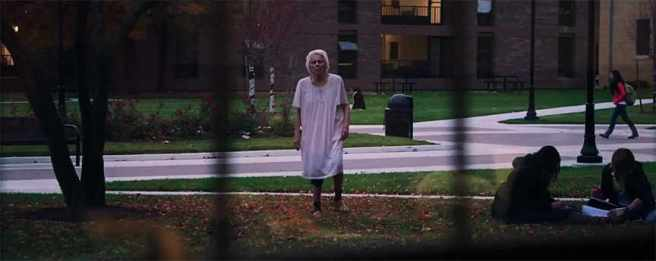 The reverse shot captures the first vision Jay has, while in class at a community college. The old woman, I argue, is her dead grandmother. Image courtesy of RADiUS-TWC.
