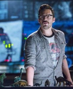 Contrary to what Claire believes, Lowery, a lifelong Jurassic Park supergeek, doesn't wear his t-shirt ironically. Image courtesy of Universal Pictures.