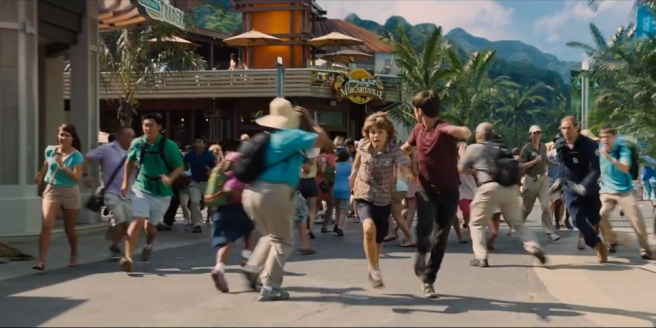 Main Street of Jurassic World under attack. Maybe opening a franchise of Jimmy Buffett's Margaritaville restaurants on Isla Nublar wasn't such a good idea, after all. Image courtesy of Universal Pictures.
