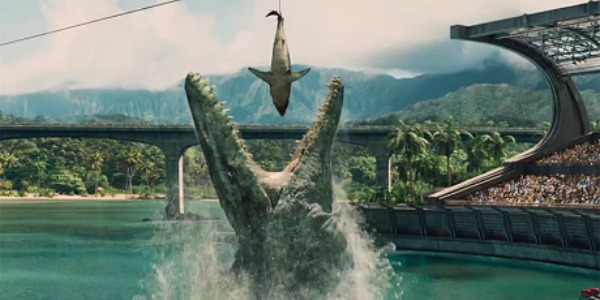 The Mosasaurus eats Jaws; it's never safe to go in that water. Image courtesy of Universal Pictures.