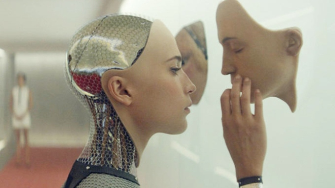 Ava contemplates the nature of her existence in Ex Machina. Image courtesy of A24.