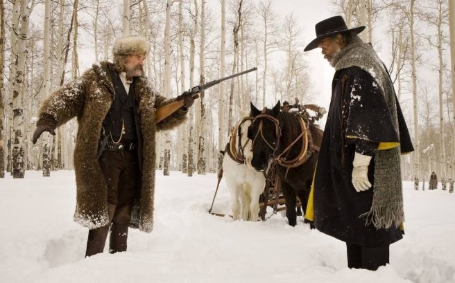 Two of The Hateful Eight, being... hateful. Image courtesy of The Weinstein Company.
